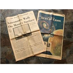 Rare 1969 Newspapers, Astronauts Walk On Moon, Man Sets Foot In Heavens