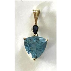 6ct Natural Trillion Swiss Blue Topaz & Pear Cut Sapphire 14kt Pendant