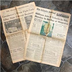 Pair of Vintage 1969 Newspapers, Death of President Eisenhower