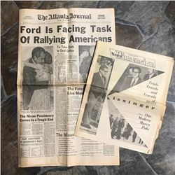 Original Early 1970's Newspapers, End of Nixon Presidency, Ford, Carter