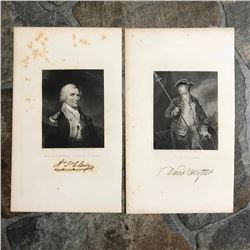 Pair of 19thc Copper Engravings, Continental Army Generals, Revolutionary War