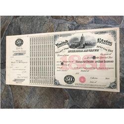 Original 1881 United States Internal Revenue $50 Malt Liqour Tax Stamp