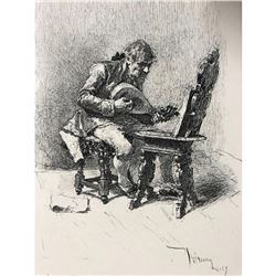 19thc Steel Engraving, Mariano Fortuny, The Guitar Player