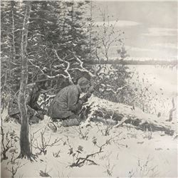Early 1900's Half-tone Print, A. B. Frost, Cabin, Lodge, Caribou Hunting