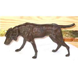 Vintage Art Deco Bronze Desk Sculpture, Labrador Retriever Hunting Dog