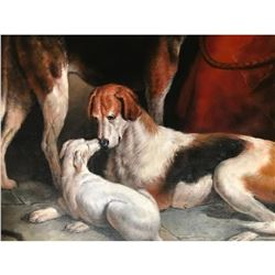 20thc Oil Painting, Hunting Dogs Resting in Kennel