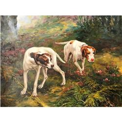 20thc Pair of Hunting Dogs Oil Painting