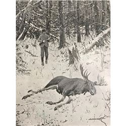 Early 1900's Half-Tone Print, A. B. Frost, The Bull Moose, Hunting