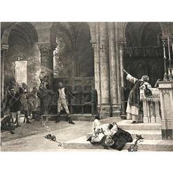 19thc Photogravure Print, Siege Of Saragossa, Spain, Napoleonic Wars