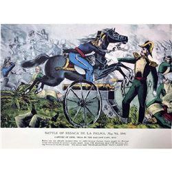 After Nathaniel Currier, Fine Art Modern Lithograph, Battle of ResacaDe La Palma - 1846