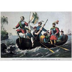 After Nathaniel Currier, Modern Fine Art Lithograph, Landing Of Columbus At San Salvador -1492