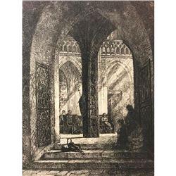 "Original 19thc Franz Stegmann German Etching, ""In The Church"""