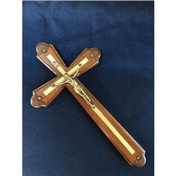 Hand-carved Wood & Gilt Brass Crucifix Cross