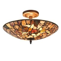 Transitional Mosaic Stone Semi-flush Ceiling Fixture Light