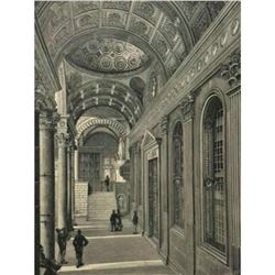 19thc Wood Engraving, Portico of the Pazzi Chapel, Cloister of Santa Croce Florence Italy