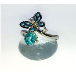 Blue Apatite, Enamel & Sterling Silver Butterfly Ring