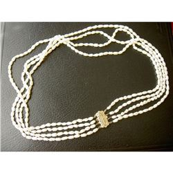 "Vintage 4-Strands Freshwater Rice Pearls 19"" Necklace"