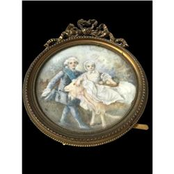 18th Century Miniature Porcelain Painting, Children & Goat