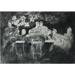 Signed German Etching, Music, Beer & Merrymaking
