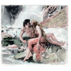 Vintage French Etching, Paul-Emile Becat, Waterfall Lovers