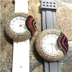 Pair of Unisex Quartz Crystal Rainbow Wristwatches