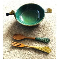 Large Mid Century Modern Ceramic Set, Bitossi Duck Serving Bowl & Utensils