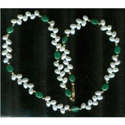 Freshwater Pearl & Malachite Gemstone Necklace