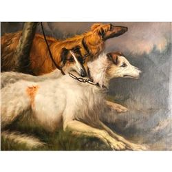 Russian Wolfhounds, Borzoi, OIl Painting