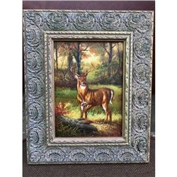 Hunt Scene, Woodland Stag Deer Oil Painting