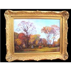 "Early 20thc Signed Oil Painting, ""Autumn"" Bartholomew Sporer"