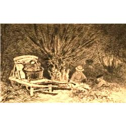 Original 19thc French Etching, Edmond Yon, French Country Picnic