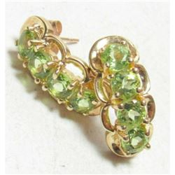 2.55cts Green Peridot Gemstone & Gold Drop Earrings