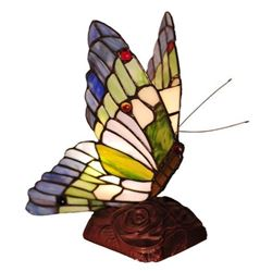 Tiffany-style Stained Glass Butterfly Accent Lamp