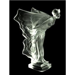 After Hoffmann, Art Deco Butterfly Girl Bohemian Glass Car Mascot, Rolls Royce Statue Figure