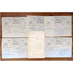 Tiffany & Co. NYC Set 4 Receipts and Letter Signed, 1908