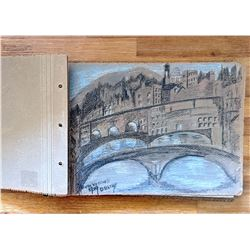 Vintage Sketchbook with Original Pastels & Charcoal Italy