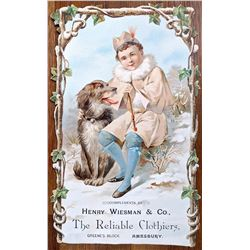 Two Vintage Colored Etchings + Large Advertising Boy and Dog
