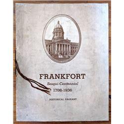 Frankfort KY Sesqui Centennial Pageant Program, 1936
