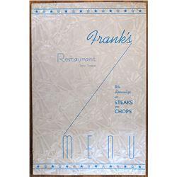 Vintage Menu Franks Restaurant Dickson, TN
