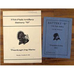Military Thanksgiving Menus 1935 - 1938 Battery B