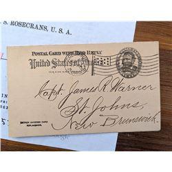 Civil War Postcard Addressed to Capt. James R. Warner