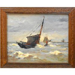 Jurrien Marinus Beek (1879-1965) Seascape Oil