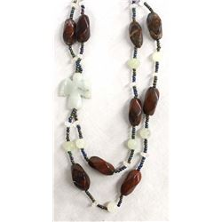 Beaded Double Strand Necklace with Stone Eagle