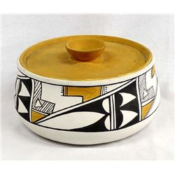 Acoma Hand Painted Ceramic Covered Dish, S. Chino