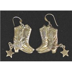 Sterling Silver Cowboy Boot Earrings