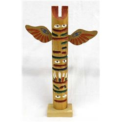 Northwest Coast Carved Wood Trading Post Totem