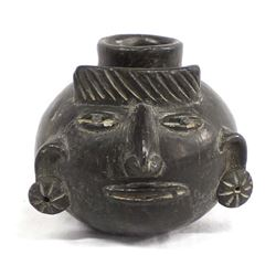 Pre Columbian Pottery Human Effigy Head Jar