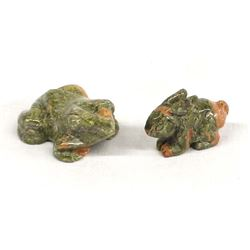 Carved Unikite Stone Frog and Rabbit Fetishes