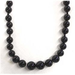 Beautiful Carved Onyx Bead Necklace