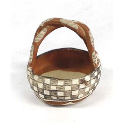 Historic Native American Isleta Pottery Basket
